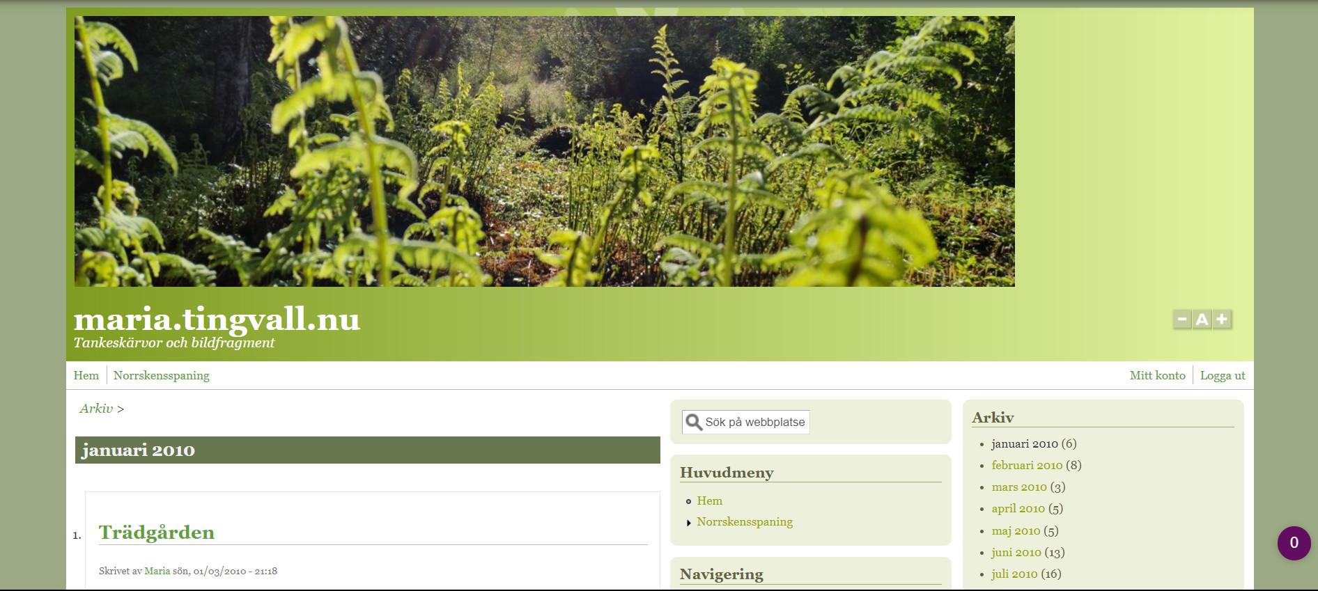 Drupal-versionen av min hemsida.