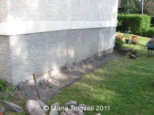 Utgrävning nedanför vardagsrummet